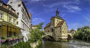 Фотографии Германия Дома Река Мосты Бавария Bamberg Города