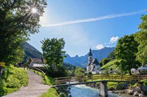 Фотография Германия Реки Мосты Бавария Поселок Berchtesgaden город
