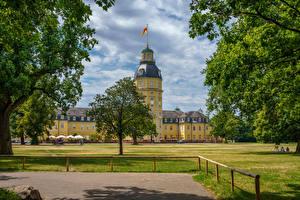 Фото Германия Дворец Газоне Дерево Schloss Karlsruhe Города