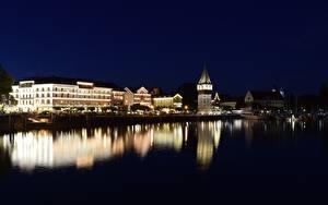 Обои Здания Пирсы Озеро Германия Ночные Башни Bodensee, Lindau город