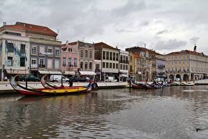 Фото Здания Португалия Лодки Водный канал Aveiro Города
