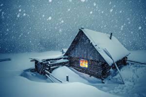 Обои Дома Зима Снега Деревянный город