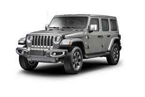 Обои Jeep Белый фон Внедорожник Серый 2019 Wrangler Unlimited Overland Latam Автомобили