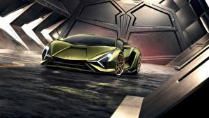 Картинка Lamborghini Спереди Sián V12 mild-hybrid 2020 машины