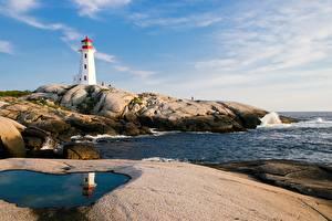 Обои Маяки Побережье Камни Канада Peggy's Cove Lighthouse Природа