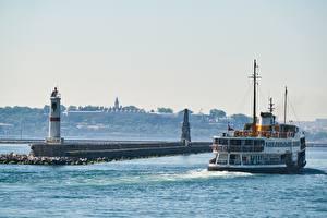 Картинки Маяки Корабль Турция Стамбул Города