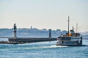 Картинки Маяки Корабль Турция Стамбул
