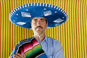 Фотографии Мужчины Шляпа Взгляд sombrero
