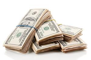 Фото Деньги Банкноты Доллары Белом фоне 100