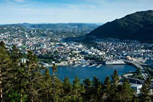Фотографии Норвегия Здания Пирсы Мост Залив Bergen город