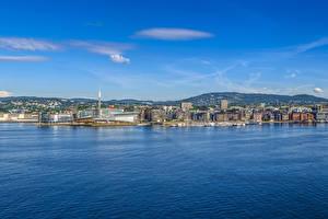 Обои для рабочего стола Норвегия Осло Здания Пристань Залив Холм Города