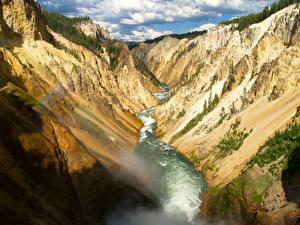 Фото Парки Реки США Йеллоустон Скала Каньон Wyoming Природа