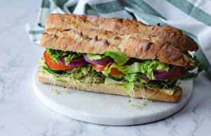 Обои для рабочего стола Сэндвич Хлеб Пища