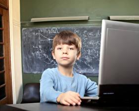 Картинка Школьные Мальчишка Взгляд Ноутбук