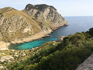 Обои Испания Залив Скала Бухта Cap de Formentor, Island of Mallorca Природа