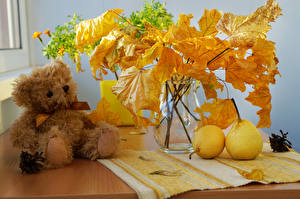 Фотографии Натюрморт Осень Груши Мишки Вазы Листья На ветке Природа