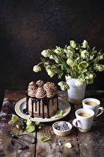 Фото Натюрморт Морозник Кофе Капучино Торты Шоколад Доски Чашке Еда