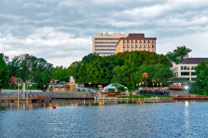 Фото США Дома Река Пирсы Columbia Maryland Города