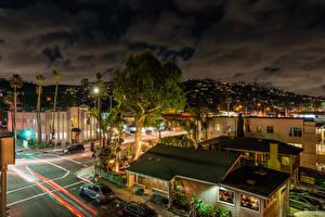 Фотографии США Здания Дороги Вечер Калифорния Уличные фонари Laguna Beach город