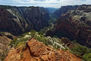Фотографии США Скале Каньона Zion National Park, Utah Природа