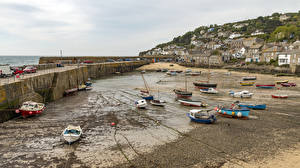 Обои Великобритания Дома Берег Пирсы Лодки Mousehole город