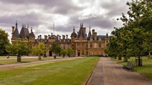 Обои для рабочего стола Великобритания Дома Особняк Газоне Скамья Дерева Waddesdon Manor город