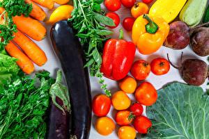 Фотография Овощи Баклажан Помидоры Перец Свекла Морковь