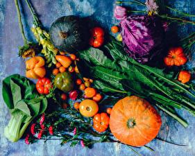 Картинка Овощи Тыква Томаты Перец овощной Капуста Пища
