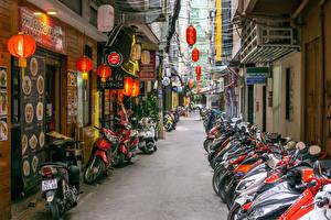 Фотографии Вьетнам Здания Много Улице Saigon Мотоциклы