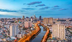 Картинки Вьетнам Дома Река Дороги Saigon Города