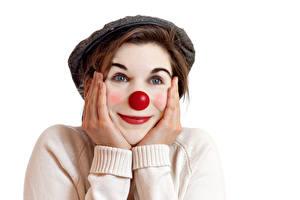 Фото Белом фоне Клоуна Носа Рука Мейкап девушка