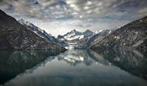 Фотографии Аляска Горы Реки Johns Hopkins Glacier Природа