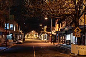 Фотография Австралия Мельбурн Здания Улица В ночи Уличные фонари город