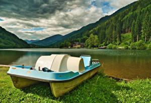 Фото Австрия Гора Леса Озеро Carinthia, small catamaran Природа