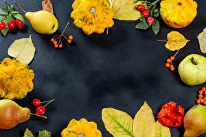 Картинки Осень Тыква Яблоки Груши Лист Шиповник плоды Шаблон поздравительной открытки