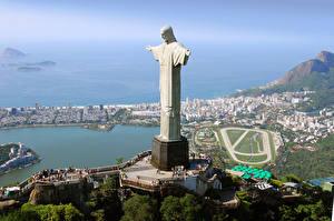Фото Бразилия Здания Рио-де-Жанейро Christ the Redeemer город