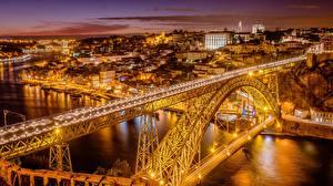 Картинка Мост Португалия Портус Кале Речка В ночи Уличные фонари Douro River, Dom Luís I Bridge