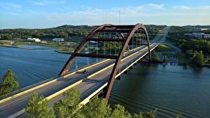 Картинка Мосты Речка США Техас Pennybacker Bridge, Colorado river Города