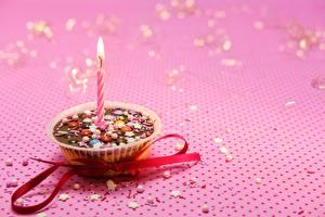Фото Свечи Пламя Розовые Ленточка Бантик