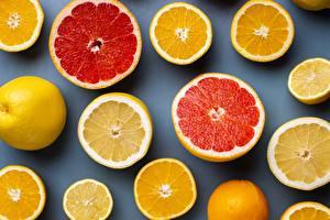 Картинки Цитрусовые Апельсин Грейпфрут Лимоны