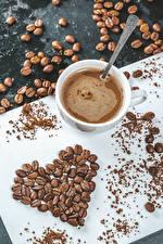 Обои для рабочего стола Кофе Чашке Сердечко Зерно Пища