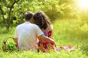 Фотография Любовники Мужчины Траве Корзина 2 Сидящие Обнимает Вид сзади Боке девушка