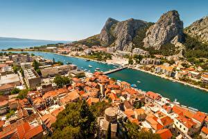 Картинка Хорватия Гора Дома Мосты Залив Omis