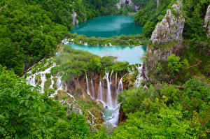 Фотография Хорватия Водопады Парк Утес Plitvice lakes national Park Природа