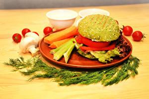 Картинки Укроп Гамбургер Грибы Томаты Овощи Тарелка vegan Пища