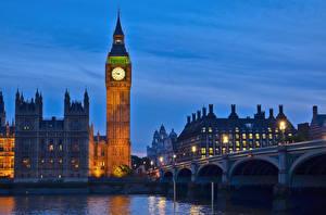 Картинки Англия Часы Реки Мосты Лондон Биг-Бен Westminster bridge, Thames город