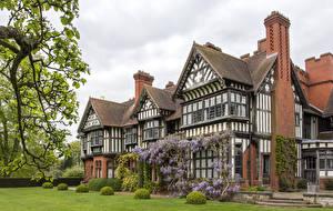 Картинка Англия Здания Особняк Дизайн Газоне Кусты Wightwick Manor город