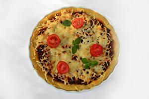 Обои для рабочего стола Фастфуд Пицца Помидоры Белый фон Продукты питания