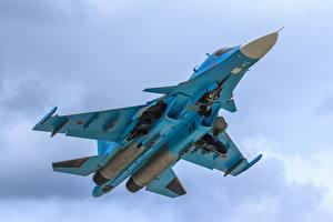 Картинки Самолеты Истребители Бомбардировщик Су-34