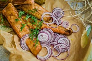 Картинки Рыба Лук репчатый Пища